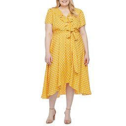Danny & Nicole-Plus Short Sleeve Polka Dot High-Low Fit & Flare Dress | JCPenney