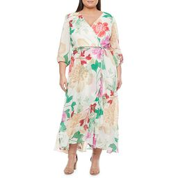Danny & Nicole-Plus 3/4 Sleeve Floral Maxi Dress | JCPenney
