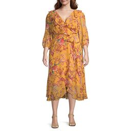 Danny & Nicole-Plus 3/4 Sleeve Floral Fit & Flare Dress | JCPenney