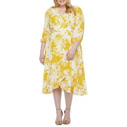Danny & Nicole-Plus 3/4 Sleeve Floral Midi Fit & Flare Dress | JCPenney