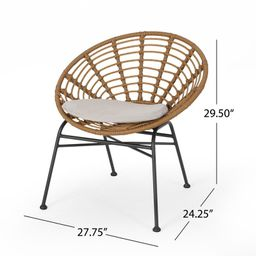 Bankhead Wicker Patio Dining Chair with Cushion (Set of 2) | Wayfair North America