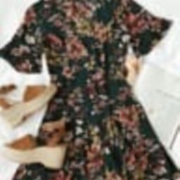 Garden of Delight Forest Green Floral Print Button-Front Dress   Lulus (US)