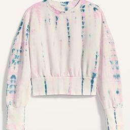 Loose Tie-Dye Cropped Crew-Neck Sweatshirt for Women | Old Navy (US)