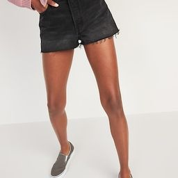 High-Waisted Button-Fly O.G. Straight Black Cut-Off Jean Shorts -- 1.5-inch inseam   Old Navy (US)