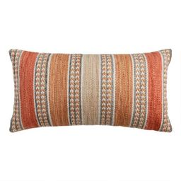 Striped Spice Indoor Outdoor Lumbar Pillow | World Market