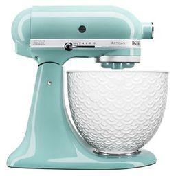 Aqua Sky Artisan® Series Tilt-Head Stand Mixer with White Mermaid Lace Bowl KSM156WMAQ   Kitchen...   KitchenAid