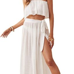 Verdusa Women's 2 Piece See Through Bandeau Top and Tie Side Long Skirt Cover Up Set | Amazon (US)
