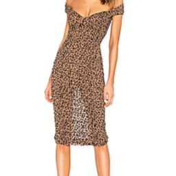 MAJORELLE Tabitha Midi Dress in Tan Leopard from Revolve.com   Revolve Clothing (Global)