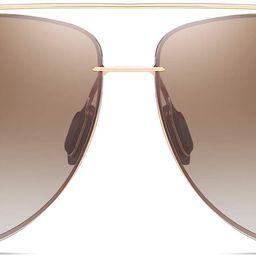 Aviator Polarized Sunglasses with Case for Men and Women- Oversized Aviator Metal Frame - Gradien...   Amazon (US)