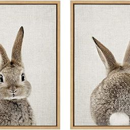 Kate and Laurel Sylvie Bunny Portrait and Bunny Tail Framed Canvas Wall Art by Amy Peterson, 18x2... | Amazon (US)