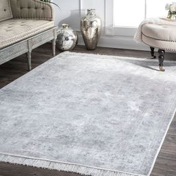 """Silver Fading Floral Fringe 7' 6"""" x 9' 6"""" Area Rug 