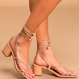 Zayne Almond Lace-Up High Heel Sandals | Lulus (US)