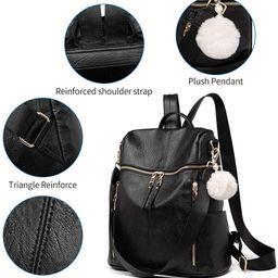 Backpack Purse for Women, Large Designer Fashion Leather Multiple Pockets Shoulder Bag for Weeken... | Amazon (US)