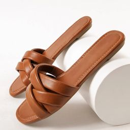Faux Leather Crisscross Strap Sandals | SHEIN