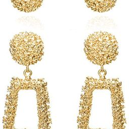 Zealmer Women Gold & Sliver Plated Geometric Dangle Earrings (Pack of 2) | Amazon (US)
