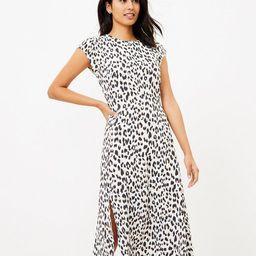 Leopard Print Flutter Sleeve Midi Dress | LOFT