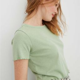 Aerie Ribbed Lettuce Trim Baby T-Shirt | American Eagle Outfitters (US & CA)