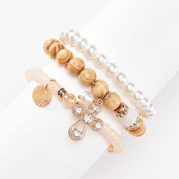 Triple Row Wood Pearl Bracelet Set | Cato Fashions