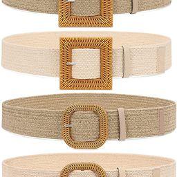 Set of 4 Straw Woven Elastic Stretch Waist Belts for Women, Fashion Boho Ladies Braided Skinny Dr... | Amazon (US)