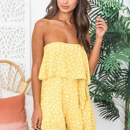 Happy Times Yellow Printed Romper | The Pink Lily Boutique