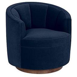 Jackie Swivel Chair, Indigo Velvet   One Kings Lane