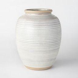 "11"" Ceramic Ribbed Vase Gray - Threshold™ designed with Studio McGee | Target"