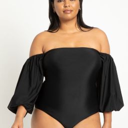 Puff Sleeve Off The Shoulder Swimsuit | Eloquii