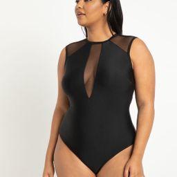 Mesh Shoulder Swimsuit | Eloquii