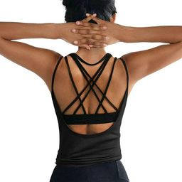 OYANUS Womens Summer Workout Tops Sexy Backless Yoga Shirts Open Back Activewear Running Sports G...   Amazon (US)