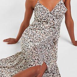 Printed Ruffle Wrap Front Maxi Dress   Express