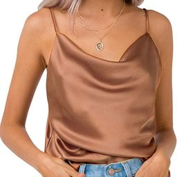 Simplee Women's Casual Silk Satin Tank Top Sexy Plain Cami V Neck Spaghetti Strap Vest Top | Amazon (US)