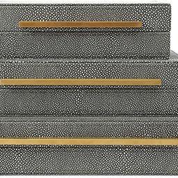 Kingflux Grey Faux Shagreen Leather Set of 3 Pcs Decorative Boxes, Storage Boxes Jewelry Organize... | Amazon (US)