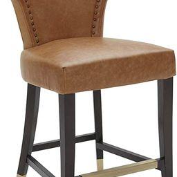 "Amazon Brand – Stone & Beam Leather Counter-Height Barstool with Brass Nailhead Trim, 39""H, Cog... | Amazon (US)"
