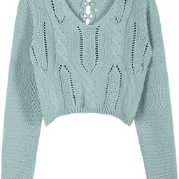 PrettyGuide Women's Sweater Long Sleeve Eyelet Cable Lace Up Crop Top   Amazon (US)