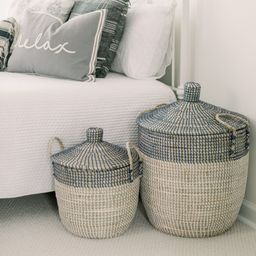 Set of 2 Seagrass Baskets with Lids by Lauren McBride   QVC