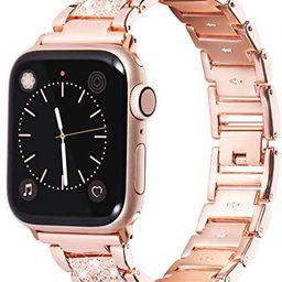 Fullife Bling Band Compatible with Apple Watch Band 38mm 40mm Women, Jewelry Metal Diamond Bracel... | Amazon (US)