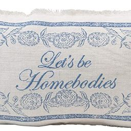 Creative Co-Op Linen Blend Embroidered Lumbar Let's Be Homebodies, Cream Color & Blue Pillow, Cre... | Amazon (US)