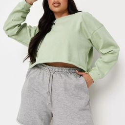 Plus Size Gray Marl Jersey Raw Edge Boyfriend Shorts   Missguided (US & CA)