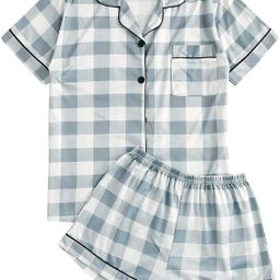 SweatyRocks Women's Short Sleeve Sleepwear Button Down Satin 2 Piece Pajama Set | Amazon (US)