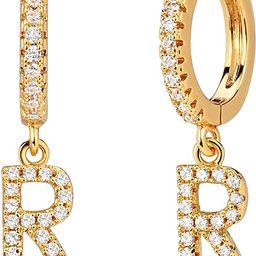 Mevecco 18K Dainty Gold Filled Pave Cubic Zircon Letter Charm Huggie Hoop Earrings Wear Initials ...   Amazon (US)