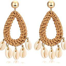 Rattan Shell Earrings Handmade Straw Wicker Braid Woven Drop Earrings Boho Cowrie Shell Chandelie...   Amazon (US)