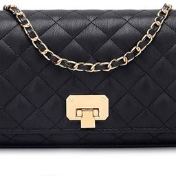 Women Black Quilted Purse Lattice Clutch Small Crossbody Shoulder Bag with Chain Strap Leather | Amazon (US)