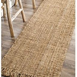 """nuLOOM Hand Woven Chunky Natural Jute Farmhouse Runner Rug, 2' 6"""" x 6', Natural 