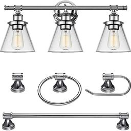Globe Electric Parker 5-Piece All-in-One Bathroom Set, Chrome, 3-Light Vanity Light with Clear Gl...   Amazon (CA)