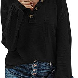 MEROKEETY Women Long Sleeve Waffle Knit Pullover Tops V Neck Button Shirts Blouses | Amazon (US)
