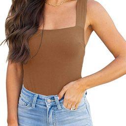 REORIA Womens Sexy Square Neck Sleeveless Tank Tops Bodysuits Clubwear | Amazon (US)