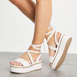 ASOS DESIGN Tessa tie leg flatform sandals in white | ASOS (Global)