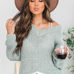 Do Anything For Me Waffle Knit Sweater Sage   The Pink Lily Boutique
