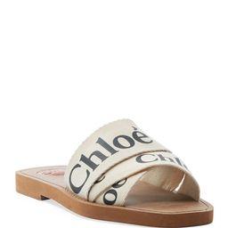 Woody Flat Logo Ribbon Slide Sandals | Neiman Marcus