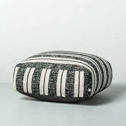 Bold Stripe Outdoor Floor Cushion Black/White - Hearth & Hand™ with Magnolia   Target